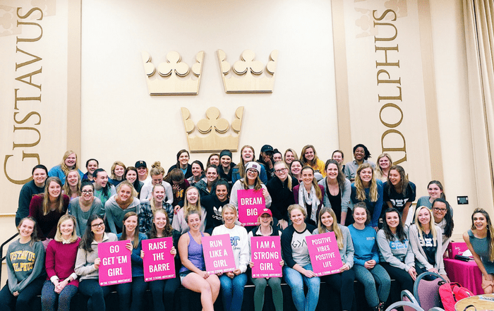 gustavus adolphus college the strong movement strong girl workshop workout panhellenic programming sorority sisterhood women empowerment strong confident happy-min