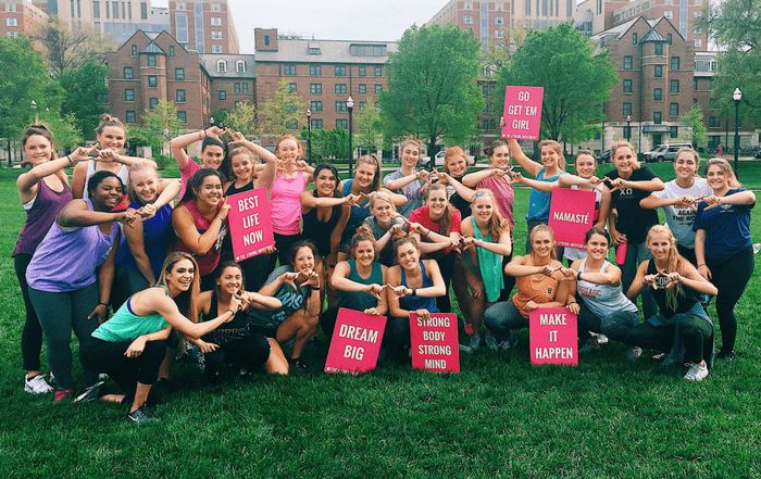 the strong movement strong girl workshop workout panhellenic programming sorority sisterhood chi omega osu ohio state university women empowerment strong confident happy-min